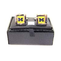 NCAA Michigan Wolverines Square Cufflinks with Square Shape Logo Design Gift Box Set