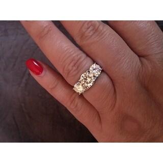 Charles & Colvard 14k Gold 3 9/10ct DEW Round Forever Brilliant Moissanite 3-stone Ring