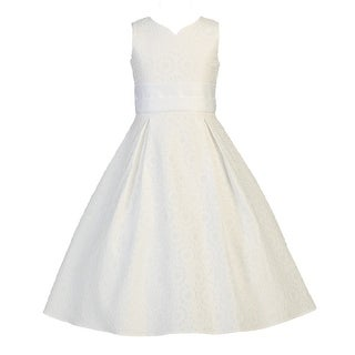 Girls White Floral Jacquard First Communion Easter Dress 7-12
