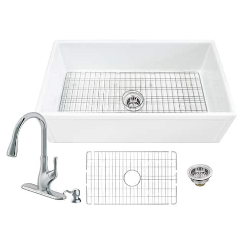 Soleil All-In-One Fireclay Picture Frame Single Bowl Sink and Faucet