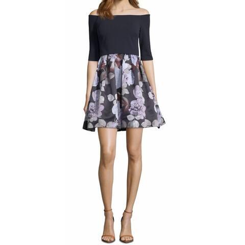 Betsy Adam Women's A-Line Dress Blue Size 6 Floral Off The Shoulder
