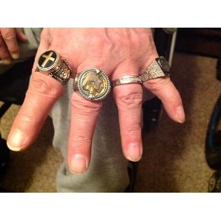 Miadora Sterling Silver Men's 1/10ct TDW Diamond Wedding Band