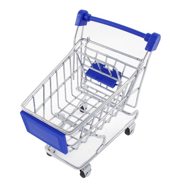 Sky Blue Movable Mini Shopping Cart Handcart Model Toy Mobile Phone Holder