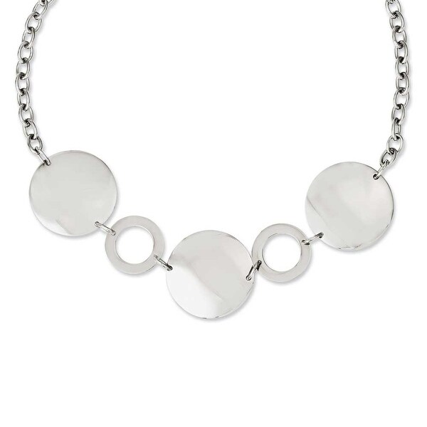 Chisel Stainless Steel Polished Circles 18in Necklace (5 mm) - 18 in