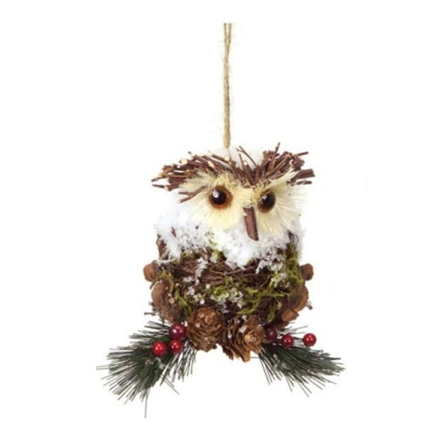 "5.5"" Modern Lodge Iced Pine, Cone and Twig Rustic Owl Christmas Ornament - multi"