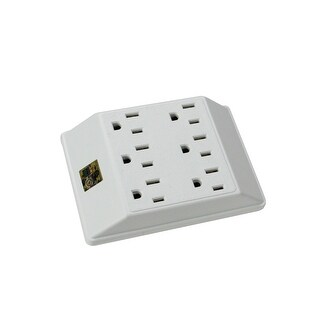 """5"""" Stanley 6-Outlet White Electrical Wall Tap with Dual 3-Prong Plugs - Off-White"""