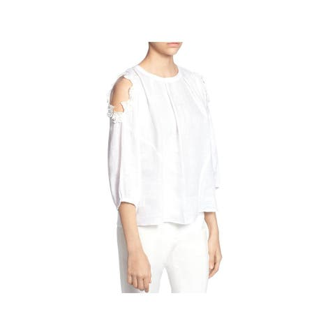 Catherine Malandrino Womens Blouse Linen Cold-Shoulder