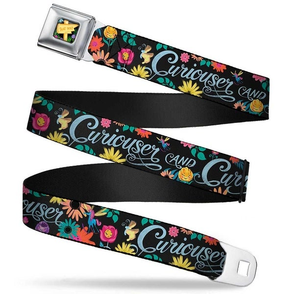 Alice In Wonderland This Way Sign Flowers Full Color Curiouser And Seatbelt Belt