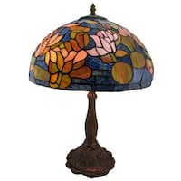 Stained Glass Floral Table Lamp 24 Inches Tall Bronzed Base