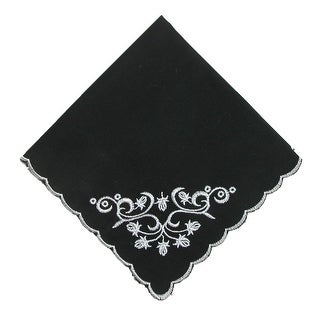 CTM® Women's Cotton Black and White Floral Scroll Handkerchief - One Size