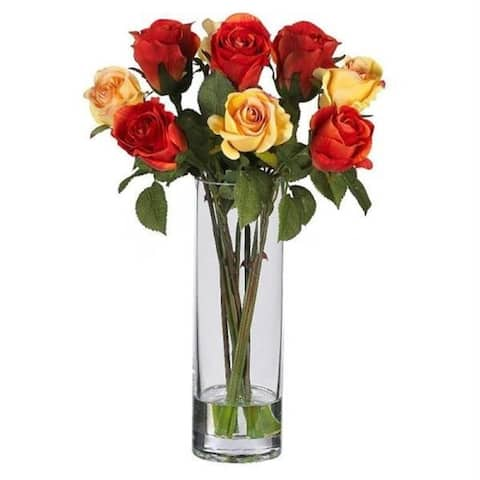 Nearly Natural 4740 Roses with Glass Vase Silk Flower Arrangement
