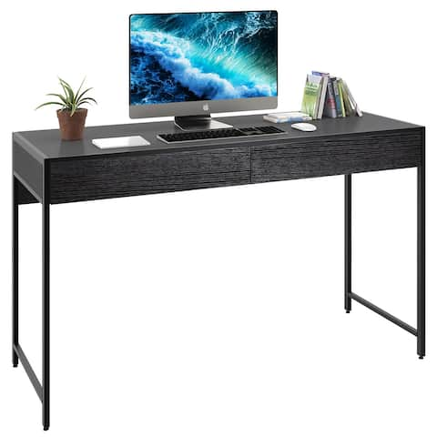Writing Desk with 2 Drawers Computer Wooden Desk Spacious Workstation