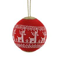 "4"" Alpine Chic Red with White Deer Nordic Design Christmas Ball Ornament"