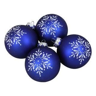 "4ct Royal Blue and White Snowflake Christmas Ball Ornament 3"" (75mm)"