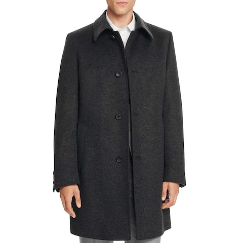 Hugo Boss Task Charcoal Wool and Cashmere Overcoat 38 Regular 38R Coat