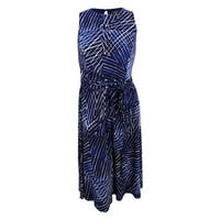 Lauren by Ralph Lauren Women's Belted Printed Jersey Dress - lighthouse navy