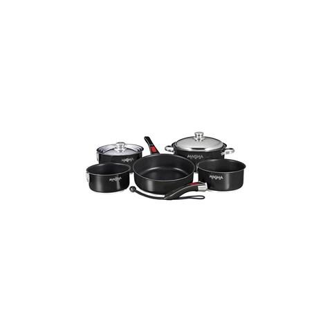 Magma Nesting 10-Piece Induction Compatible Cookware - Slate Black Ceramica Non-Stick Interior - Jet Black Exterior Nesting