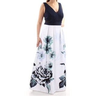 Womens Navy Floral Sleeveless Full-Length Fit + Flare Formal Dress Size: 14W