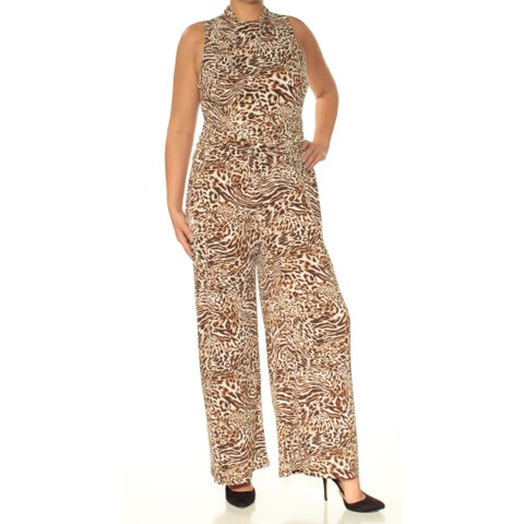 Womens Ivory Animal Print Turtle Neck Sleeveless Casual Jumpsuit Size L