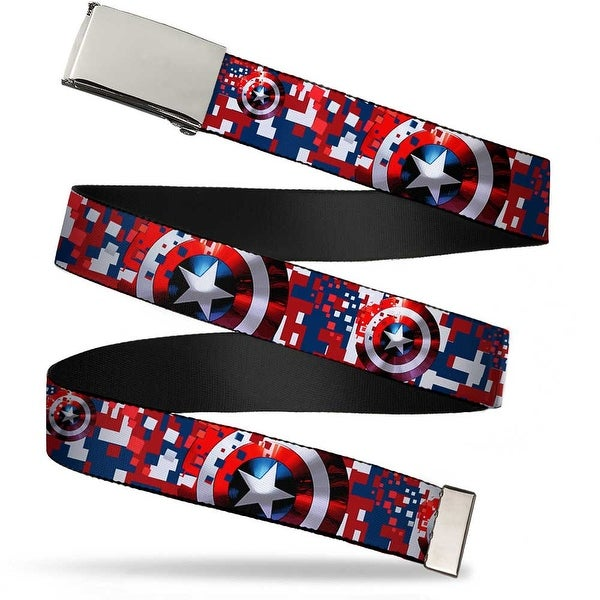 "Blank Chrome 1.0"" Buckle Captain America Shield Digital Camo Blue White Red Web Belt 1.0"" Wide - S"