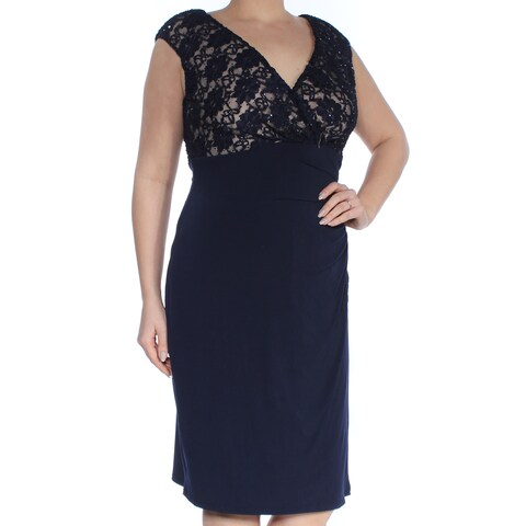 CONNECTED Womens Black Lace Sleeveless V Neck Below The Knee Sheath Cocktail Dress Size: 8