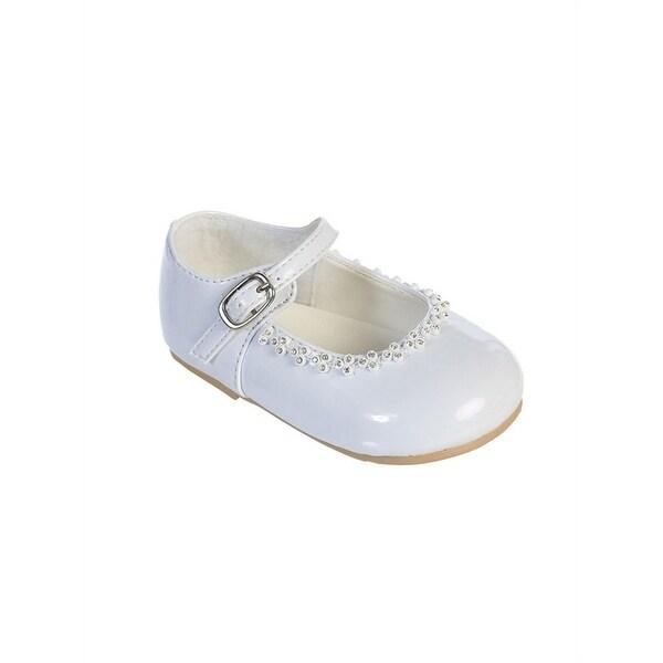Shop Girls White Glitter Rhinestone Accents Mary Jane Dress Shoes ... a61b48c1359b
