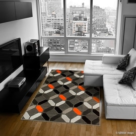 """Orange Allstar Modern. Contemporary Woven Rug. Drop-Stitch weave technique. Carve Effect. Vivid Pop Colors (7' 10"""" x 10')"""