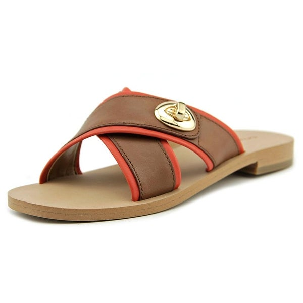 Coach Coral Women Open Toe Leather Slides Sandal