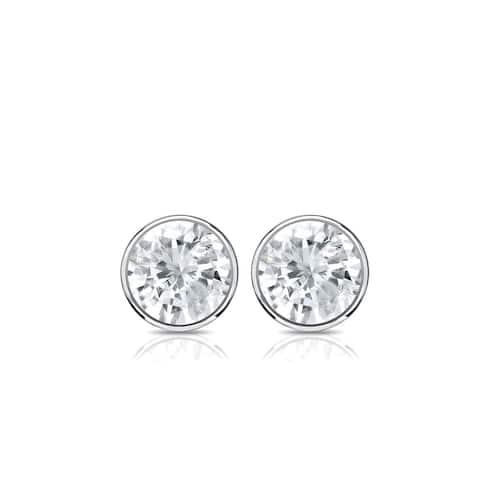 Auriya 14k Gold 0.33ctw Round Bezel-set Diamond Stud Earrings