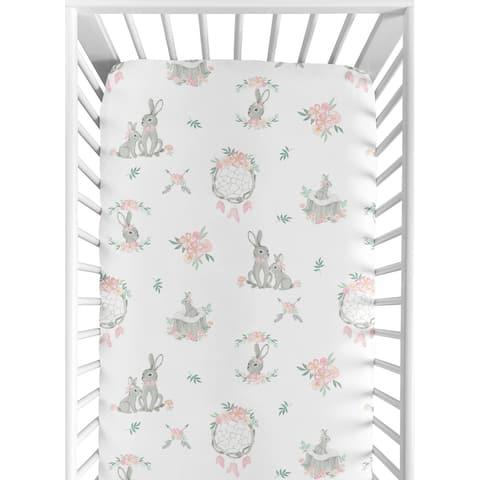 Sweet Jojo Designs Blush Pink Grey Woodland Boho Dream Catcher Arrow Gray Bunny Floral Girl Fitted Crib Sheet - Watercolor Rose