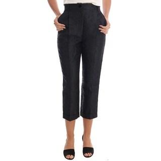 Dolce & Gabbana Black Floral Brocade Capri Pants