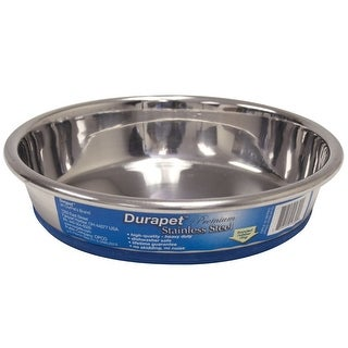 "Our Pets Durapet Premium Rubber-Bonded Stainless Steel Dish 1 cup Silver 5.33"" x 5.33"" x 1.14"""