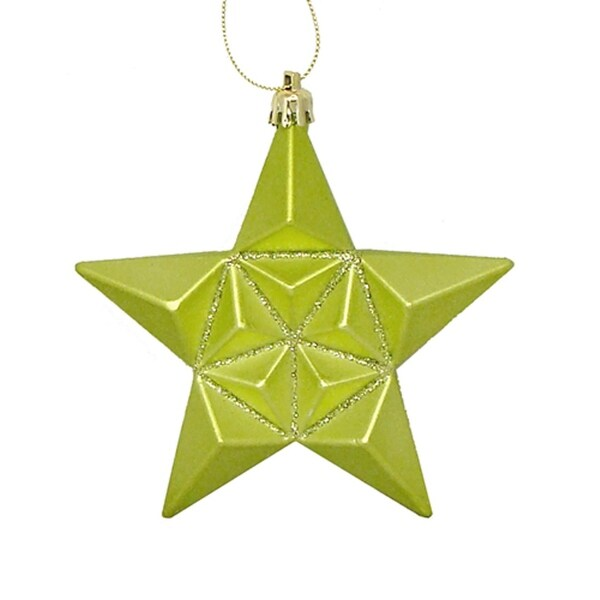 "12ct Matte Green Kiwi Glittered Star Shatterproof Christmas Ornaments 5"""