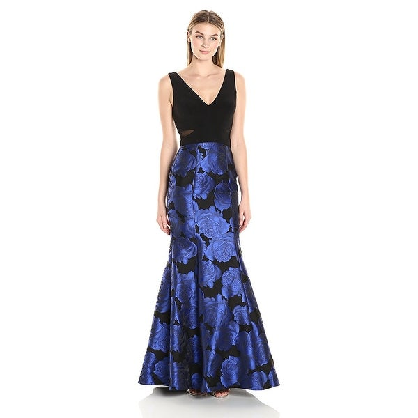 Xscape Illusion Floral Brocade Mermaid Evening Gown Dress - 8 - Free ...