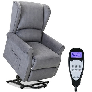 Gymax Electric Power Lift Recliner Fabric Sofa Chair Massage Vibration Remote Control