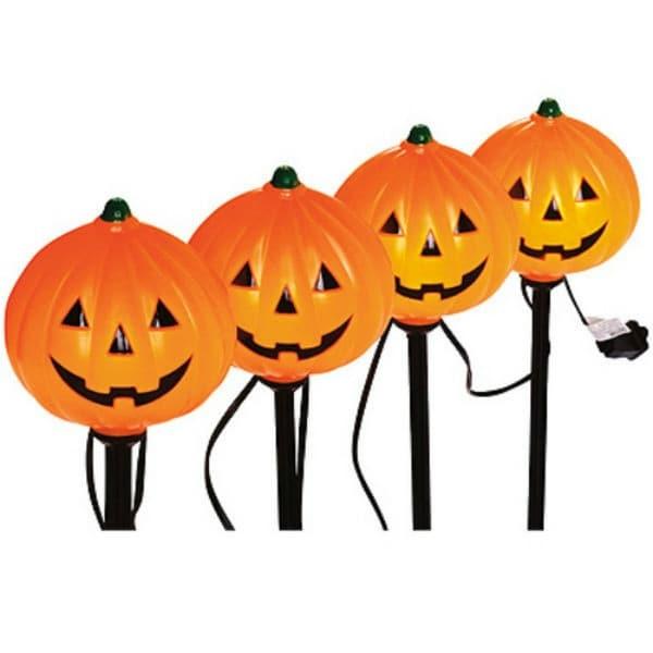 Sylvania V37131-88 Halloween Lighted Pumpkin Pathway Markers 4-Piece