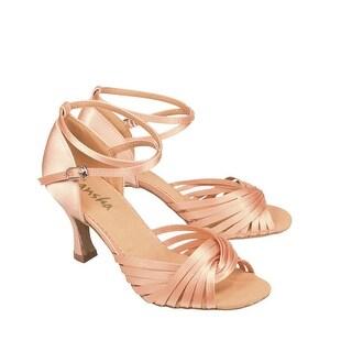 Sansha Adult Light Tan Satin Twisted Strap Ashley Ballroom Shoes Womens