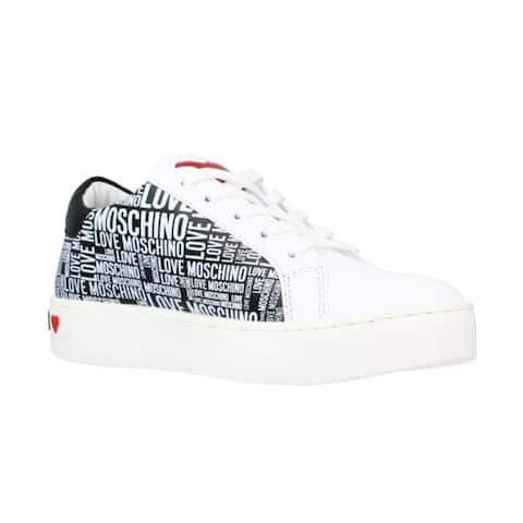 Love Moschino Women's Leather All Over Black Logo Sneakers White