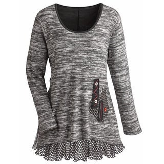 Women's Tunic Top - Heather Gray Knit Sweater with Ruffled Hemline