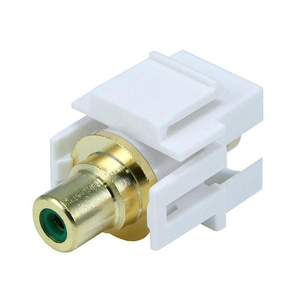 Monoprice Modular RCA Coupler Keystone Jack w/Green Center, Flush Type - White