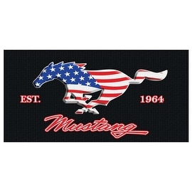 Beach Towel 30X60 Ford Mustang Est. 1964 USA Flag Stars & Stripes Pool Car Bath