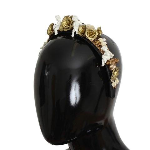 Dolce & Gabbana Dolce & Gabbana Gold Brass Roses Crystal Sicily ANGEL Tiara Headband - One size