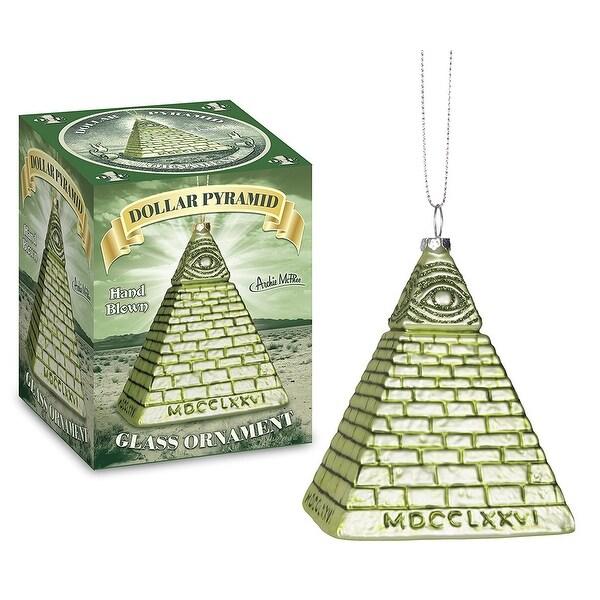 All Seeing Eye Dollar Pyramid Glass Holiday Ornament