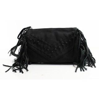 DANIELLE NICOLE NEW Black Pleather Cara Fringed Crossbody Bag Purse
