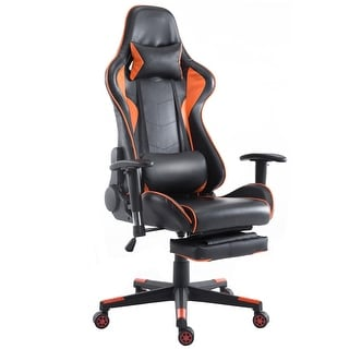 Costway Gaming Chair High Back Racing Recliner Office Chair W/Lumbar  Support U0026 Footrest