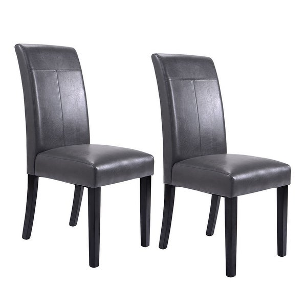 Shop Costway Set Of 2 Dining Chairs PU Leather Accent Side