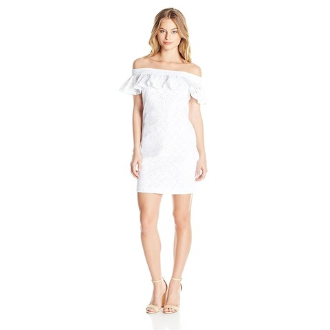 Calvin Klein Petite Cotton Eyelet Off The Shoulder Dress White - 4P