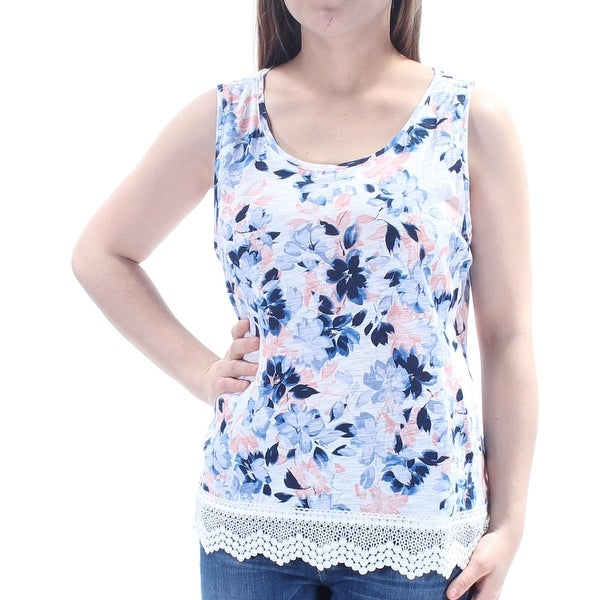 f7a0c9cca93e Shop MAISON JULES Womens Blue Floral Sleeveless Jewel Neck Top Size: L - On  Sale - Free Shipping On Orders Over $45 - Overstock.com - 24059910