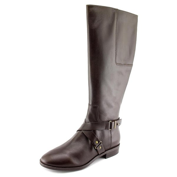 Nine West Blogger Wide Calf Round Toe Leather Knee High Boot