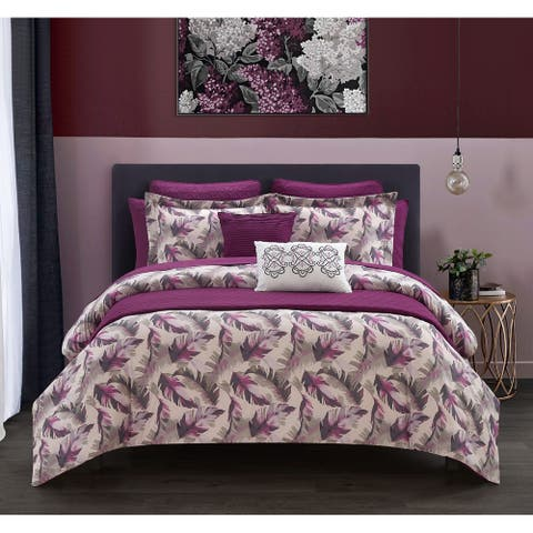 Chic Home 12 Piece Kael Watercolor Leaf Print Bed In A Bag Comforter and Quilt Set